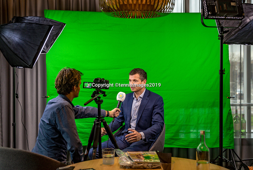 Rotterdam, The Netherlands, 10 Januari 2019, ABNAMRO World Tennis Tournament, Pressconference, Tournament Director Richard Krajicek in an interview with Jan Willem de Lange<br /> Photo: www.tennisimages.com/Henk Koster