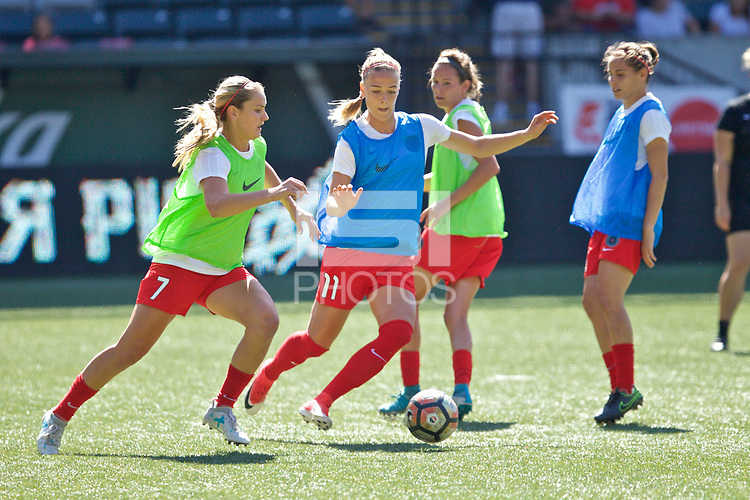Portland, OR - Saturday August 05, 2017: Lindsey Horan, Dagný Brynjarsdóttir during warmups before a regular season National Women's Soccer League (NWSL) match between the Portland Thorns FC and the Houston Dash at Providence Park.
