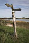 Footpath post, Butley Creek, Suffolk farming landscape scenery, East Anglia, England