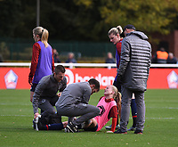 20181027 - CAMPHIN-EN-PEVELE , FRANCE : LOSC's Silke Demeyere pictured during the warming up of the 8 th competition game between the women teams of Lille OSC and Montpellier Herault Sporting Club in the 2018-2019 season of the first Division - Ligue 1 at Domaine de Luchin , Saturday 27th Octobre 2018 ,  PHOTO Dirk Vuylsteke   Sportpix.Be