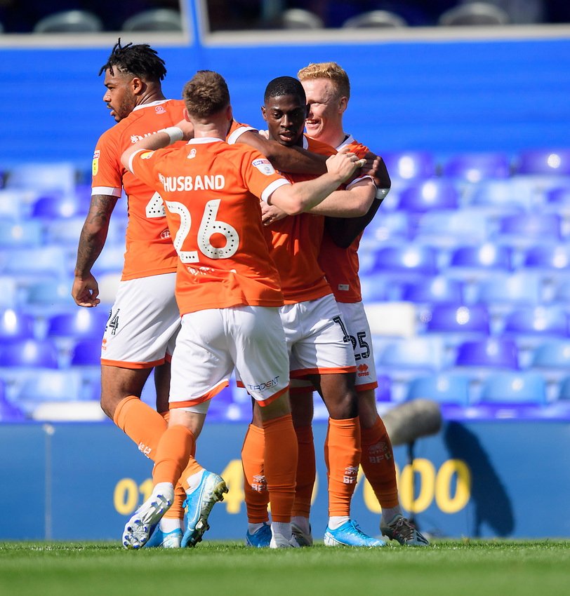 Blackpool's Sullay Kaikai, second in from right, celebrates scoring his side's second goal with team-mates<br /> <br /> Photographer Chris Vaughan/CameraSport<br /> <br /> The EFL Sky Bet League One - Coventry City v Blackpool - Saturday 7th September 2019 - St Andrew's - Birmingham<br /> <br /> World Copyright © 2019 CameraSport. All rights reserved. 43 Linden Ave. Countesthorpe. Leicester. England. LE8 5PG - Tel: +44 (0) 116 277 4147 - admin@camerasport.com - www.camerasport.com