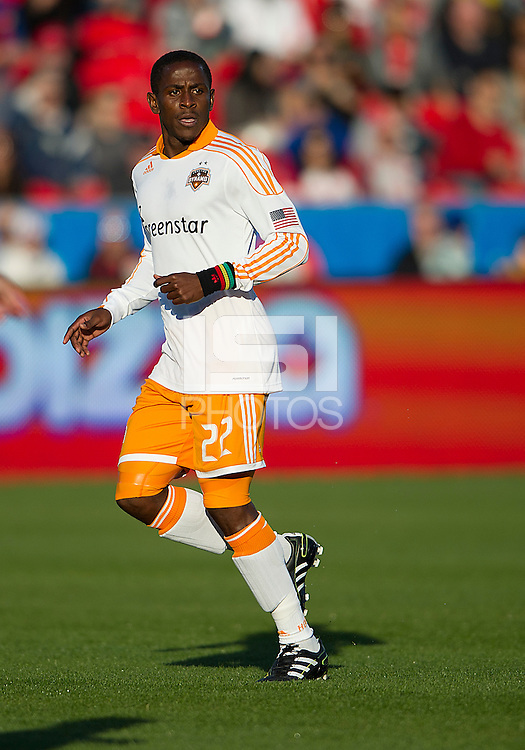 07 May 2011: Houston Dynamo midfielder Lovel Palmer #22 in action during an MLS game between the Houston Dynamo and the Toronto FC at BMO Field in Toronto, Ontario..Toronto FC won 2-1.