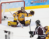 Shayne Gostisbehere (Union - 14) ties the game at 1. - The Union College Dutchmen defeated the University of Minnesota Golden Gophers 7-4 to win the 2014 NCAA D1 men's national championship on Saturday, April 12, 2014, at the Wells Fargo Center in Philadelphia, Pennsylvania.