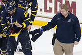 Mathieu Tibbet (Merrimack - 22), Eric Manz (Merrimack - Athletic Trainer) - The visiting Merrimack College Warriors defeated the Boston College Eagles 6 - 3 (EN) on Friday, February 10, 2017, at Kelley Rink in Conte Forum in Chestnut Hill, Massachusetts.
