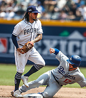 Freddy Galvis (i) and A.J. Ellis (d)<br /> Acciones del partido de beisbol, Dodgers de Los Angeles contra Padres de San Diego, tercer juego de la Serie en Mexico de las Ligas Mayores del Beisbol, realizado en el estadio de los Sultanes de Monterrey, Mexico el domingo 6 de Mayo 2018.<br /> (Photo: Luis Gutierrez)