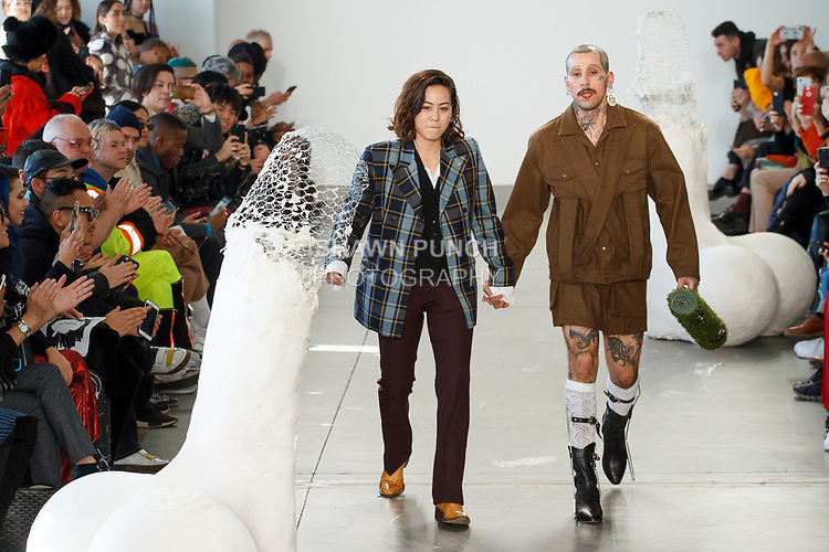 "Fashion designer Barbara Sanchez Kane walks runway with model for the close of her Sanchez-Kane Autumn Winter 2018 ""Artesanal Sex Shop"" collection fashion show, at Pier59 Studios in New York City, on February 5, 2018; during New York Fashion Week: Men's Fall Winter 2018."