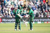 Mahmudullah (Bangladesh) congratulates Shakib Al Hasan (Bangladesh) on his century during England vs Bangladesh, ICC World Cup Cricket at Sophia Gardens Cardiff on 8th June 2019