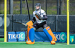 BLOEMENDAAL -  keeper Flip Wijsman (Bldaal)    voor  de hoofdklasse competitiewedstrijd hockey heren,  Bloemendaal-Den Bosch  COPYRIGHT KOEN SUYK
