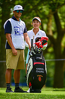 Karen Chung (USA) shares a laugh with her caddie on 17 during Thursday's round 1 of the 2017 KPMG Women's PGA Championship, at Olympia Fields Country Club, Olympia Fields, Illinois. 6/29/2017.<br /> Picture: Golffile | Ken Murray<br /> <br /> <br /> All photo usage must carry mandatory copyright credit (&copy; Golffile | Ken Murray)