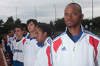 18 August 2010: Luis de la Rosa of Team France is seen during the national anthem prior to the France 7-3 win over Ukraine, at the 2010 European Championship, under 21, in Brno, Czech Republic.