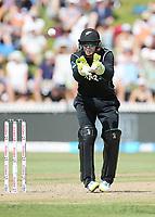 New Zealand wicket keeper Tom Latham takes a return from the outfield. New Zealand Blackcaps v England. One Day International Cricket. Seddon Park, Hamilton, New Zealand on Sunday 25 February 2018.<br /> <br /> Copyright photo: &copy; Bruce Lim / www.photosport.nz