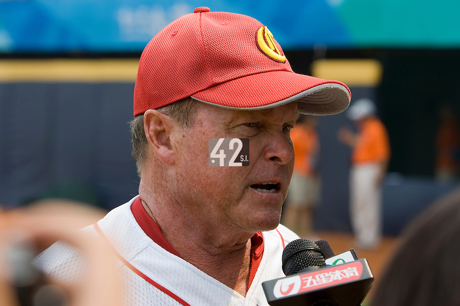 18 August 2007: China team manager James Kenneth Lefebvre answers journalists during the China 5-1 victory over France in the Good Luck Beijing International baseball tournament (olympic test event) at the Wukesong Baseball Field in Beijing, China.