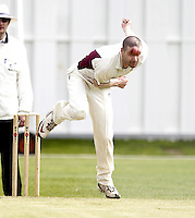 Joel Hughes bowls for North Middlesex during the ECB Middlesex Premier League game between North Middlesex and Hampstead at Park Road, Crouch End on Saturday May 17, 2014