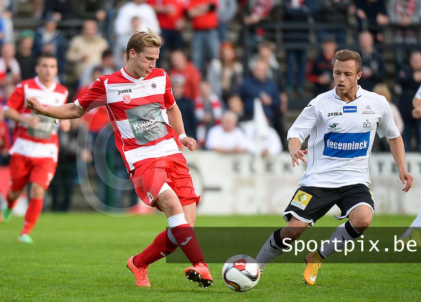 KSV Roeselare - R Antwerp FC : Joren Dom (links) aan de bal voor Jimmy De Jonghe (r) <br /> foto VDB / BART VANDENBROUCKE