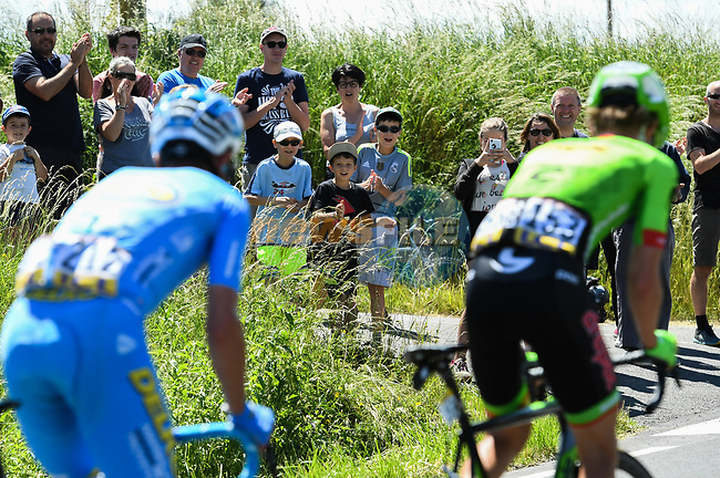 Fans watch the breakaway group Romain Combaud (FRA) Delko Marseille Provence KTM and Nathan Brown (USA) Cannondale-Drapac during Stage 2 of the Criterium du Dauphine 2017, running 171km from Saint-Chamond to Arlanc, France. 5th June 2017. <br /> Picture: ASO/A.Broadway | Cyclefile<br /> <br /> <br /> All photos usage must carry mandatory copyright credit (&copy; Cyclefile | ASO/A.Broadway)