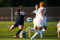 Sky Blue FC midfielder Nayeli Rangel (7) takes a shot. Sky Blue FC defeated the Washington Spirit 1-0 during a National Women's Soccer League (NWSL) match at Yurcak Field in Piscataway, NJ, on July 6, 2013.
