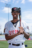 Wisconsin Timber Rattlers outfielder Je'Von Ward (4) poses for a photo before a Midwest League game against the Great Lakes Loons at Dow Diamond on May 4, 2019 in Midland, Michigan. (Zachary Lucy/Four Seam Images)