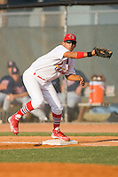 First baseman David Medina #22 of the Johnson City Cardinals on defense against the Elizabethton Twins at Howard Johnson Field July 3, 2010, in Johnson City, Tennessee.  Photo by Brian Westerholt / Four Seam Images