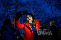A a woman demonstrate outside of City Hall in support of the New York Police Department (NYPD) in New York December 19,2014 . Kena Betancur/VIEWpress