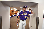 OMAHA, NE - JUNE 26: Alex Lange (35) of Louisiana State University flexes his muscles before his team takes on the University of Florida during the Division I Men's Baseball Championship held at TD Ameritrade Park on June 26, 2017 in Omaha, Nebraska. The University of Florida defeated Louisiana State University 4-3 in game one of the best of three series. (Photo by Jamie Schwaberow/NCAA Photos via Getty Images)