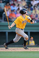 Second baseman Erich Weiss (22) of the West Virginia Power bats in a game against the Greenville Drive on Sunday, May 11, 2014, at Fluor Field at the West End in Greenville, South Carolina. Greenville won, 9-6. (Tom Priddy/Four Seam Images)
