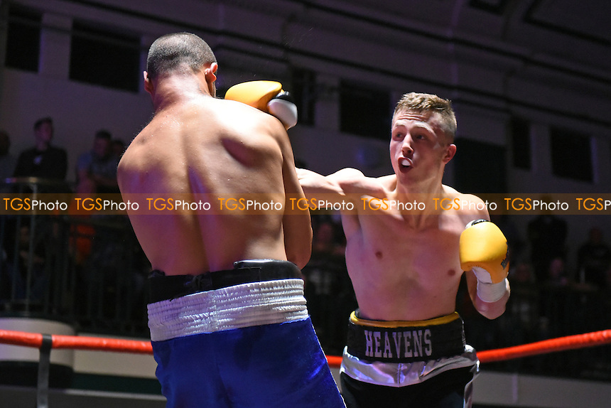 Ricky Heavens (black/white shorts) defeats Ladislav Nemeth during a Boxing Show at York Hall on 17th September 2016