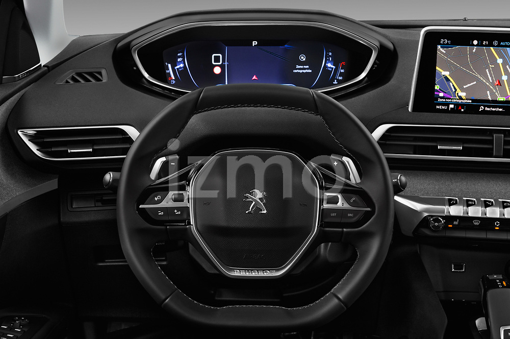 Car pictures of steering wheel view of a 2017 Peugeot 5008 GT Line 5 Door SUV