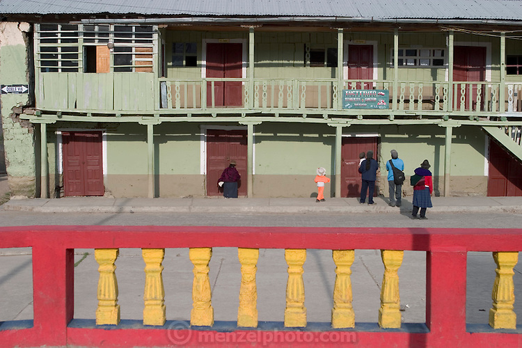 One of the buildings at the town plaza in Simiatug, Ecuador. (Supporting image from the project Hungry Planet: What the World Eats.)