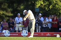 Justin Rose (Team Europe) on the 16th tee during Saturday afternoon Fourball at the Ryder Cup, Hazeltine National Golf Club, Chaska, Minnesota, USA.  01/10/2016<br /> Picture: Golffile | Fran Caffrey<br /> <br /> <br /> All photo usage must carry mandatory copyright credit (&copy; Golffile | Fran Caffrey)