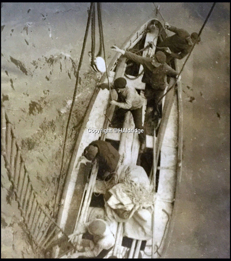 BNPS.co.uk (01202 558833)<br /> Pic: HAldridge/BNPS<br /> <br /> The Oceanic sends out a cutter to examine the lifeboat.<br /> <br /> A grusome account of how the bodies of three Titanic victims were found in an abandoned lifeboat a month after the disaster has surfaced after 104 years.<br /> <br /> The three men were discovered in the collapsable boat 200 miles from the wreck site by the passing British liner RMS Oceanic on May 13, 1912.<br /> <br /> The captain manoeuvred the ship towards the object in the water and the crew and passengers goulishly watched with binoculars as it dawned on them there were bodies still on board.