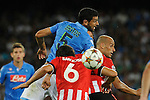 Miguel Britos of Napoli and Mikel Rico of Athletic  during the match between SSC Napoli and Athletic Club Bilbao, play-offs First leg Champions League at the San Paolo Stadium onTuesday August 19, 2014 in Napoli, Italy. (Photo by Marco Iorio)<br />