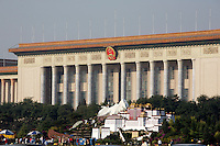 Tian'anmen Square (Place of Heavenly Peace). Miniature Potala in front of the Great Hall of the People to celebrate the annexation of Tibet and the new railway line Lhasa-Beijing.