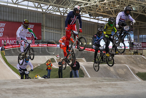 09.04.2016. National Cycling Centre, Manchester, England. UCI BMX Supercross World Cup day 1. Tre Whyte leads the field.