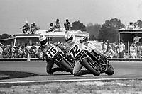 Dave Busby, #72 Honda, leads Glenn Barry, #15 Honda, Daytona 200, AMA Superbikes, Daytona International Speedway, Daytona Beach, FL, March 9, 1986.(Photo by Brian Cleary/bcpix.com)