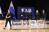 13th September 2017, Hamilton, New Zealand;  New Zealand captain Katrina Grant leads out the Silver Ferns in her 100th Test ahead of the Taini Jamison Trophy international netball match - Silver Ferns versus  England played at Claudelands Arena, Hamilton, New Zealand on Wednesday 13 September 2017