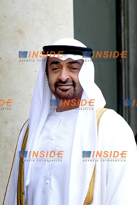 Sua Altezza Mohammed bin Zayed Al Nahyan.Parigi 11/07/2012 Palazzo Presidenziale dell'Eliseo - Incontro tra il presidente della Repubblica francese e  il  Principe ereditario di Abu Dhabi.Foto Insidefoto /Gerard Roussel / Panoramic.ITALY ONLY.