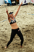 NZ's Susan Blundell celebrates victory during the 2009 McEntee Hire NZ Beach Volleyball Tour - Women's final at Oriental Parade, Wellington, New Zealand on Sunday, 11 January 2009. Photo: Dave Lintott / lintottphoto.co.nz.