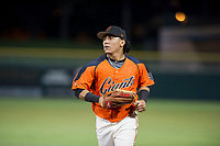 AZL Giants center fielder Ismael Munguia (29) jogs off the field between innings of the game during Game Three of the Arizona League Championship Series against the AZL Cubs on September 7, 2017 at Scottsdale Stadium in Scottsdale, Arizona. AZL Cubs defeated the AZL Giants 13-3 to win the series two games to one. (Zachary Lucy/Four Seam Images)