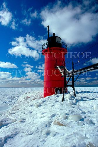 South Haven Pier Lighthouse, Lake Michigan, South Haven, Michigan.