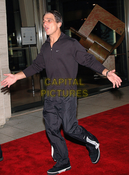 "TONY DANZA.Premiere of her new film ""Good Night, And Good Luck"" at Avery Fisher Hall at Lincoln Center, part of the 43rd New York Film Festival, New York, New York.   .Photo Credit: Patti Ouderkirk AdMedia/Capital Pictures.Ref: PO.September 23rd, 2005.full length arms outstretched black top tracksuit bottoms.www.capitalpictures.com.sales@capitalpictures.com.© Capital Pictures."