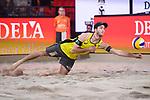06.01.2019, Den Haag, Sportcampus Zuiderpark<br /> Beachvolleyball, FIVB World Tour, 2019 DELA Beach Open, Finale<br /> <br /> Abwehr Clemens Wickler (#2)<br /> <br />   Foto &copy; nordphoto / Kurth