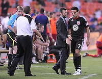 D.C. United coach Ben Olsen congratulates D.C. United forward Dwayne De Rosario for scoring a hat trick in the game.D.C. United defeated Real Salt Lake 4-0 at RFK Stadium, Saturday September 24 , 2011.
