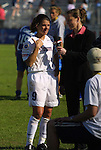 5 April 2003: Mia Hamm (9) and Wendy Gebauer-Palladino (right). The Washington Freedom defeated the Carolina Courage 2-1 at SAS Stadium in Cary, NC in a regular season WUSA game.
