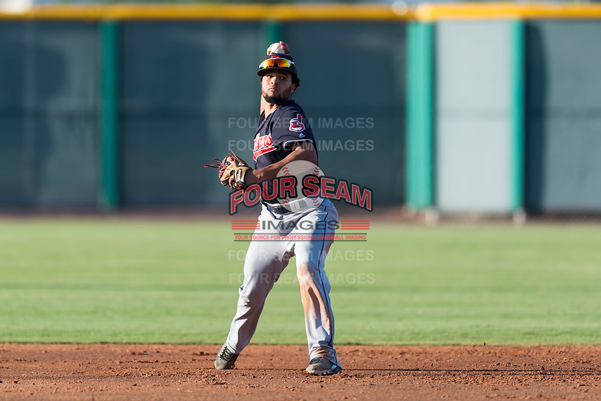 AZL Indians 1 shortstop Marcos Gonzalez (1) throws during an Arizona League game against the AZL Cubs 1 at Sloan Park on August 27, 2018 in Mesa, Arizona. The AZL Cubs 1 defeated the AZL Indians 1 by a score of 3-2. (Zachary Lucy/Four Seam Images)