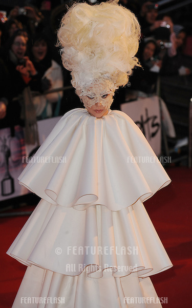Lady Gaga arriving for the Brit Awards 2010 at Earls Court, London.  16/02'2010  Picture by:  Gerry Copper / Featureflash