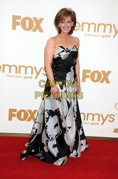 Anne Sweeney.63rd Primetime Emmy Awards held at Nokia Theatre L.A. Live. Los Angeles, California, USA. .18th September 2011.emmys full length dress black white print strapless .CAP/ADM/BP.©Byron Purvis/AdMedia/Capital Pictures.