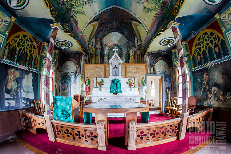 "Interior of St. Benedict Roman Catholic Church (a.k.a. ""The Painted Church"") Captain Cook, Big Island."