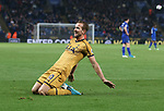 Tottenham's Harry Kane celebrates scoring his third goal during the Premier League match at the King Power Stadium, Leicester. Picture date: May 18th, 2017. Pic credit should read: David Klein/Sportimage