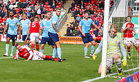 Fleetwood Town's Cian Bolger celebrates scoring the opening goal <br /> <br /> Photographer Alex Dodd/CameraSport<br /> <br /> The EFL Sky Bet League One - Fleetwood Town v Accrington Stanley - Saturday 15th September 2018  - Highbury Stadium - Fleetwood<br /> <br /> World Copyright &copy; 2018 CameraSport. All rights reserved. 43 Linden Ave. Countesthorpe. Leicester. England. LE8 5PG - Tel: +44 (0) 116 277 4147 - admin@camerasport.com - www.camerasport.com