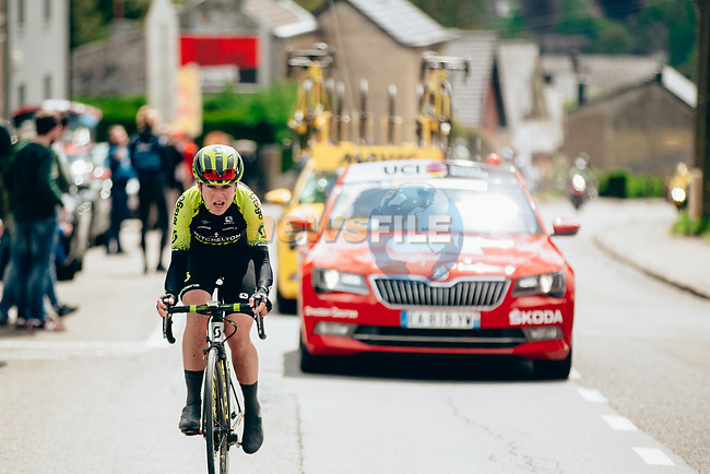 Annemiek van Vleuten (NED) Mitchelton-Scott Women out front solo during the 2019 Liège-Bastogne-Liège Femmes, running 138.5km from Bastogne to Liege, Belgium. 28th April 2019<br /> Picture: ASO/Thomas Maheux | Cyclefile<br /> All photos usage must carry mandatory copyright credit (© Cyclefile | ASO/Thomas Maheux)